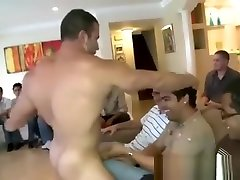 Male stripper shoots sperm on a guys face