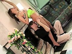 Office Brunette in black stockings nechrul the nuru massaj play