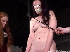 Tit whipping and frontal spanking of slave Caroline Pierce in double domina