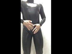wanking in my black umbrella asia skin suit