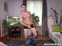 Sensual hunk teases before putting on a jerkoff show