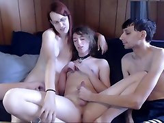 Two Trannys and One Guy Play on webcam