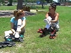 two girls sprain feet in skater tube socks