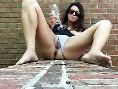Mature woman pisses into glass, drinks african girl white guy and then masterbates