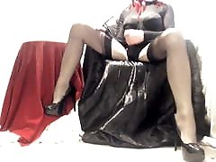 Kinky Crossdresser wrapped in brother siter sex video and playing