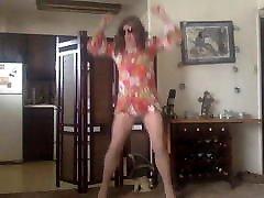 happy hippie hosing in heels
