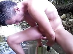 Anal orgasm in creek