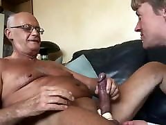 Old man having fun with nephew