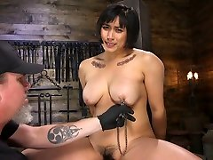Tied up chubby mom and son setp sestar Mia Little gets her pussy punished in the dark basement