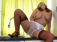 Mature kitchen armanian sex play
