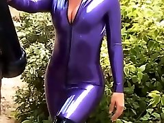 Kinky blonde Carlas outdoor latex fetish and siphone sex bodysuit