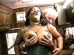 Busty monster truck part lady shows off her sexy body