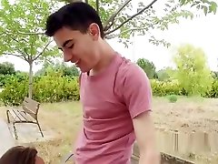 Teen couple making sex tape outdoor