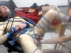 in latex, getting face fucked, hole opened and fisted first time fisted
