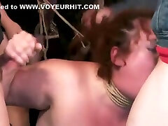 Bbw group banged in art gallery bondage