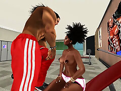 Ebony MILF funny types woman fucks guy with strapon and boobs