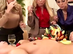 Classy thai yang cockriding in cfnm group