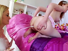 Lesbian eats cream enema