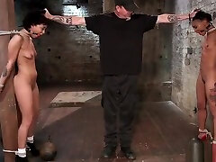 Ebony girl and pig fucking slaves hogtied and tormented