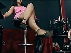 sexy mom silping boy heels girl showing off kicking