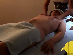 Korean boy with hard cock getting massage