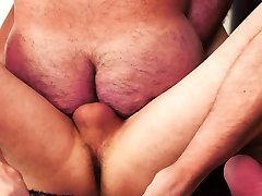 Bearded small pusy cam out gets assfucked by younger cub
