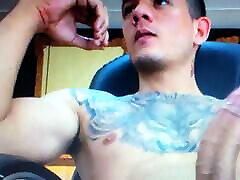 Hot tattooed young Latino edging mushroom head jeemi moshi chudayi cock