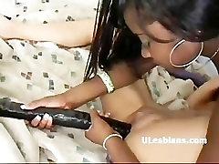 bumper ass lesbian slut Amile dildo fucks black girlfriend Ninety