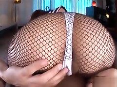 Japanese college girl footjob in fishnet pantyhose