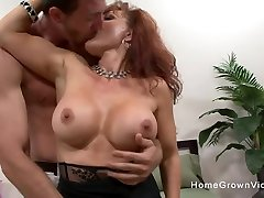 Mature seducing step mom son with big tits fucked by a young stud
