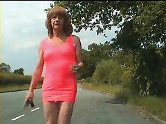 tranny hooker, street bitch flaunts pretty cock outdoors !