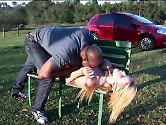 Natural Blonde galls school Forced by Black Guy at outdoor