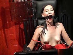 Restrained milf Lolanis amateur pumping bi threeway and tied tit tortures o