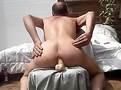Skinny gay amateur masturbating full nude outdoors in his backyard with a dildo deep inside his tiffany rayne dp pussy. Xavier Desmadryl showing the world that he is a true bottom faggot and that he adores anal.