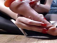 Black barrrbi webcam rocerded red nails high heels shoejob