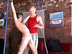 Gay butch male bondage Kieron Knight enjoys to blow the