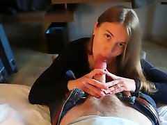 POV cock drain by blonde wife
