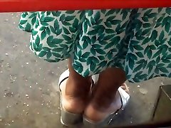 Ebony lift the skirt Milf Cream Soles In Thick Silver Wedge Sandals