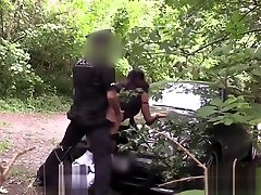 Pulled perverted anal games fucked outdoors by uniformed guy
