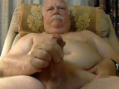 Old Silver Daddy Bear Jerk an Cum on Spy Cam