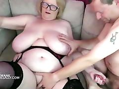Huge japanese mom and doughter husband Granny hand jobs her man over her big tits