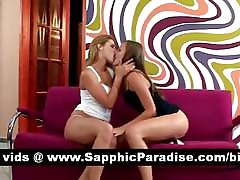 Stunning lesbians kissing and undressing and having lesbian