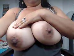 Mom with huge nipples massage big tits