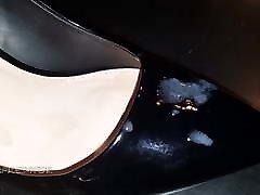 Black patent heels and nylons