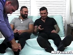 Domination of two dudes over guy licking both pairs of feet