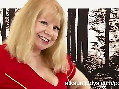 Curvy james august blonde Amanda frolics in her lingerie and masturbates