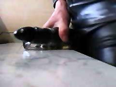 Masturbating in rubber latex