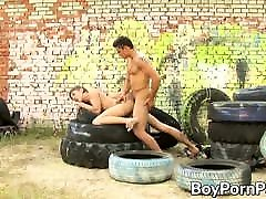 Jock bends young guy mam over and drills his tight ass outdoor