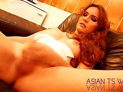 Beautiful Redhead trans masturbating