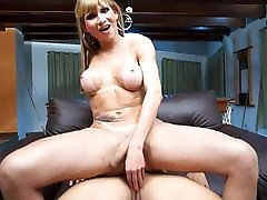 A slutty shemale takes a large cock!
